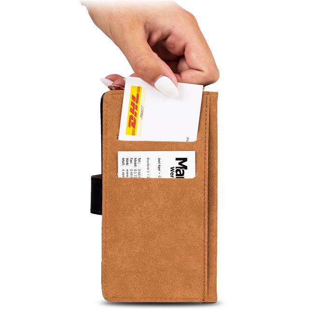 Basic Bookcase Hülle für Samsung Galaxy Xcover 2 Klapphülle Tasche mit Kartenfächer in Schwarz