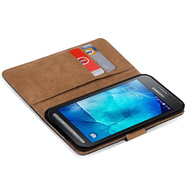 Basic Bookcase Hülle für Samsung Galaxy Xcover 3 Klapphülle Tasche mit Kartenfächer in Schwarz