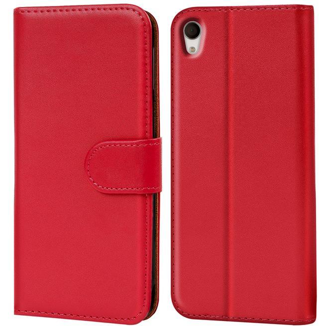 Basic Bookcase Hülle für Sony Xperia M4 Aqua Klapphülle Tasche mit Kartenfächer in Rot