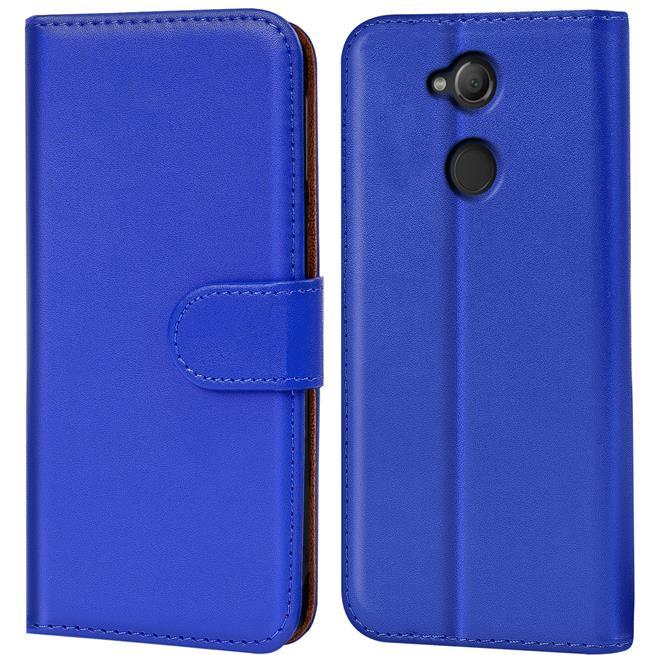 Basic Bookcase Hülle für Sony Xperia XA2 Klapphülle Tasche mit Kartenfächern in Blau