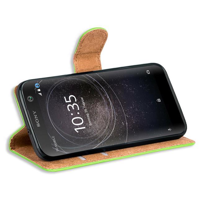Basic Bookcase Hülle für Sony Xperia XA2 Klapphülle Tasche mit Kartenfächern in Grün