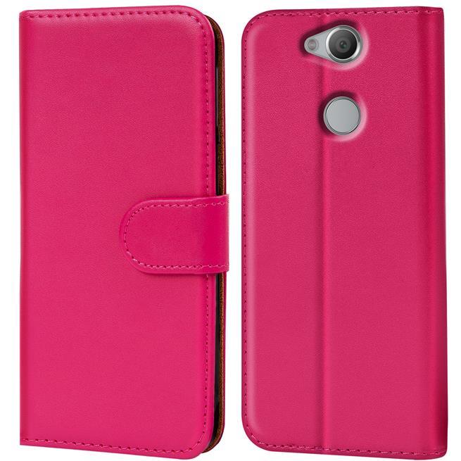 Basic Bookcase Hülle für Sony Xperia XA2 Klapphülle Tasche mit Kartenfächern in Pink