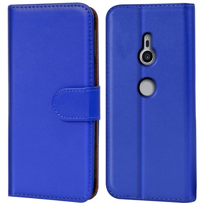Basic Bookcase Hülle für Sony Xperia XZ2 Klapphülle Tasche mit Kartenfächern in Blau