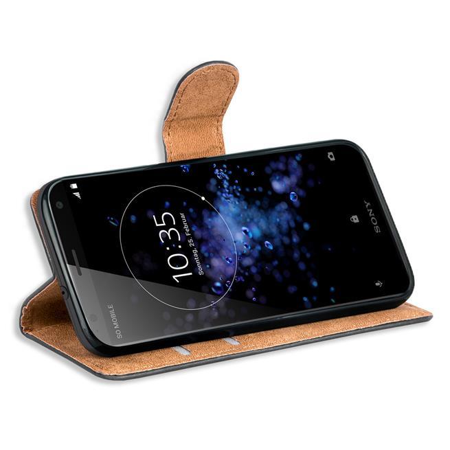 Basic Bookcase Hülle für Sony Xperia XZ2 Compact Klapphülle Tasche mit Kartenfächern in Schwarz