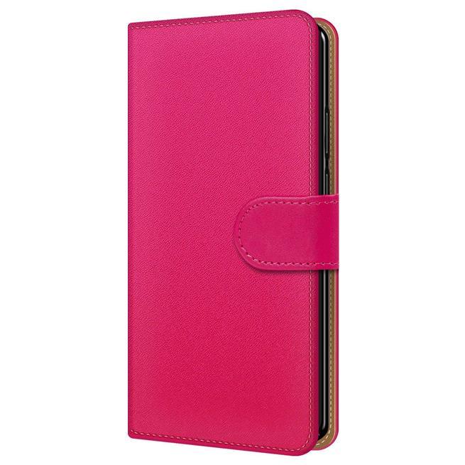 Basic Bookcase Hülle für Sony Xperia XZ2 Klapphülle Tasche mit Kartenfächern in Pink