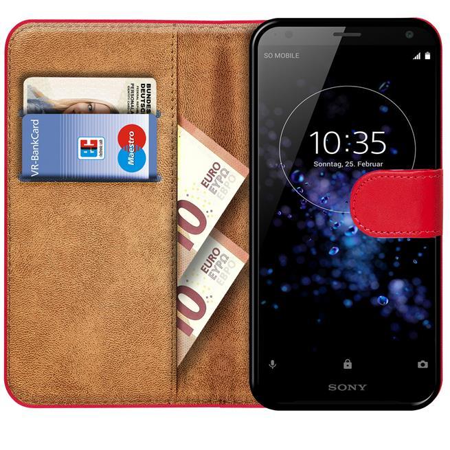 Basic Bookcase Hülle für Sony Xperia XZ2 Klapphülle Tasche mit Kartenfächern in Rot