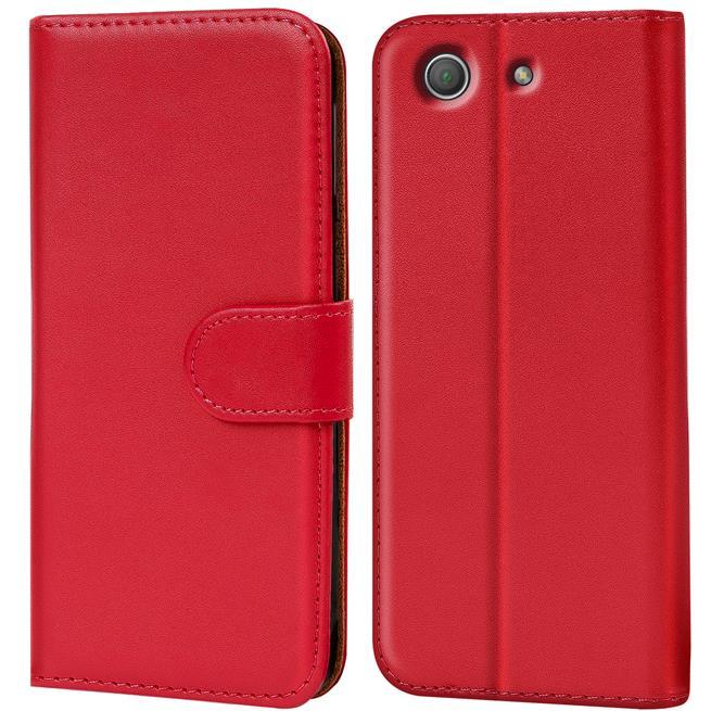Basic Bookcase Hülle für Sony Xperia Z1 Compact Klapphülle Tasche mit Kartenfächer in Rot