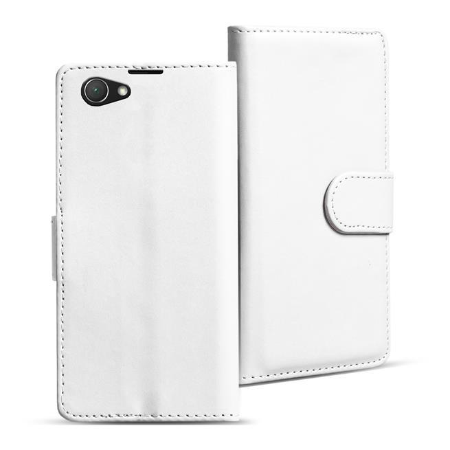 Basic Bookcase Hülle für Sony Xperia Z1 Compact Klapphülle Tasche mit Kartenfächer in Weiss