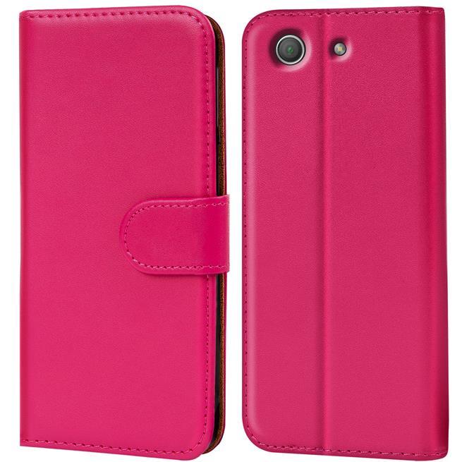 Basic Bookcase Hülle für Sony Xperia Z3 Compact Klapphülle Tasche mit Kartenfächer in Pink