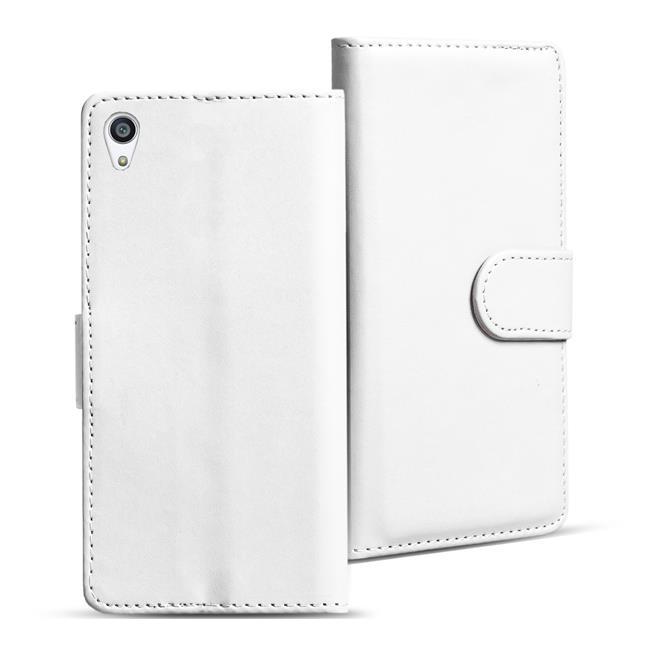 Basic Bookcase Hülle für Sony Xperia Z3 Plus Klapphülle Tasche mit Kartenfächer in Weiss