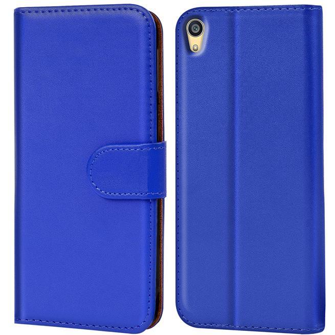 Basic Bookcase Hülle für Sony Xperia Z5 Klapphülle Tasche mit Kartenfächer in Blau