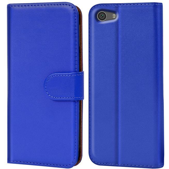 Basic Bookcase Hülle für Sony Xperia Z5 Compact Klapphülle Tasche mit Kartenfächer in Blau