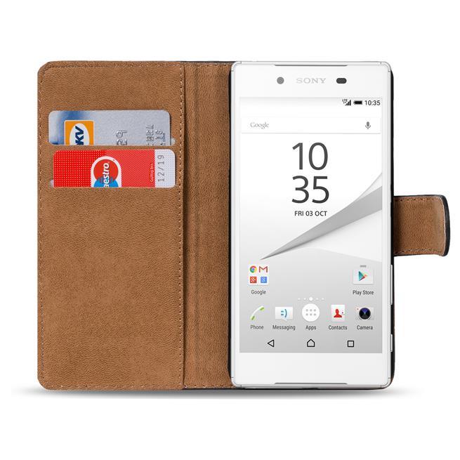 Basic Bookcase Hülle für Sony Xperia Z5 Klapphülle Tasche mit Kartenfächer in Schwarz