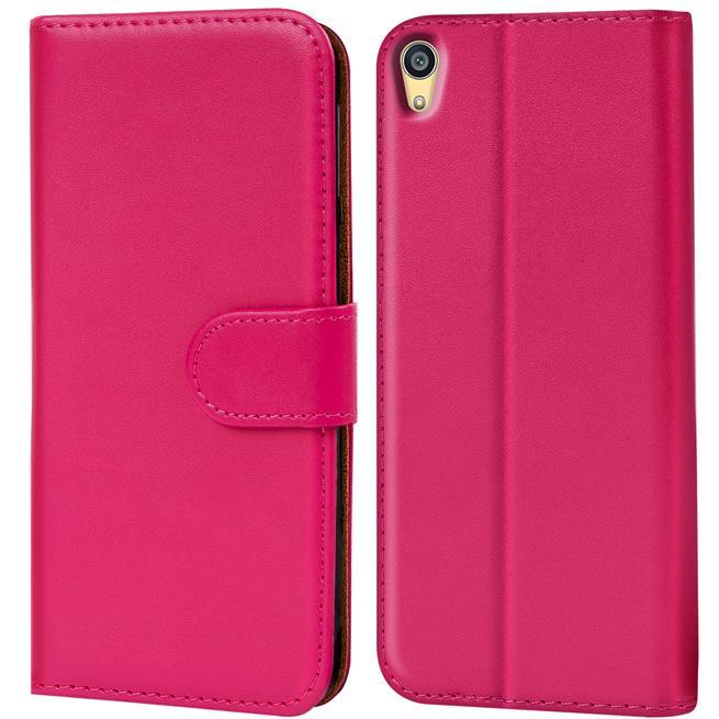 Basic Bookcase Hülle für Sony Xperia Z5 Klapphülle Tasche mit Kartenfächer in Pink