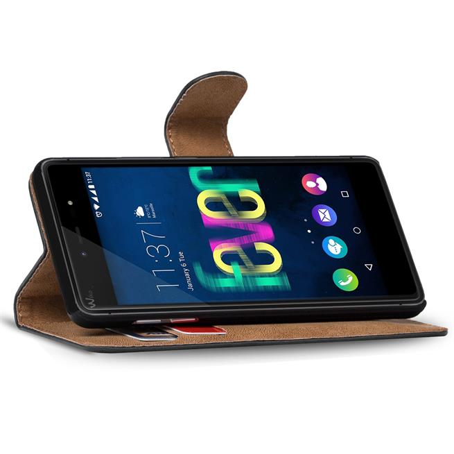 Basic Bookcase Hülle für Wiko Fever Klapphülle Tasche mit Kartenfächer in Schwarz