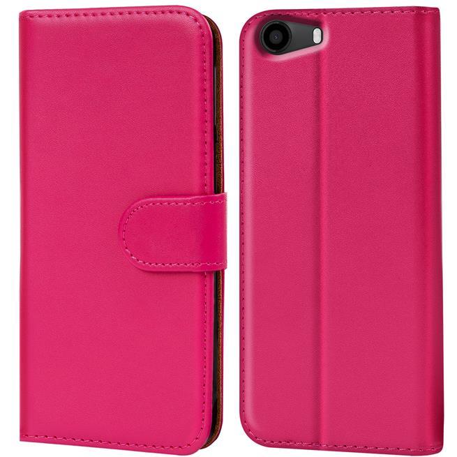 Basic Bookcase Hülle für Wiko Lenny 2 Klapphülle Tasche mit Kartenfächer in Pink
