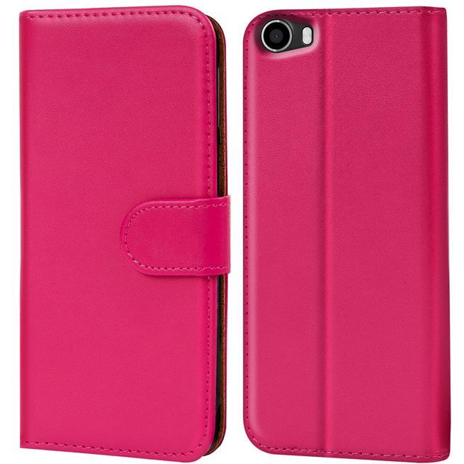 Basic Bookcase Hülle für Wiko Lenny Klapphülle Tasche mit Kartenfächer in Pink