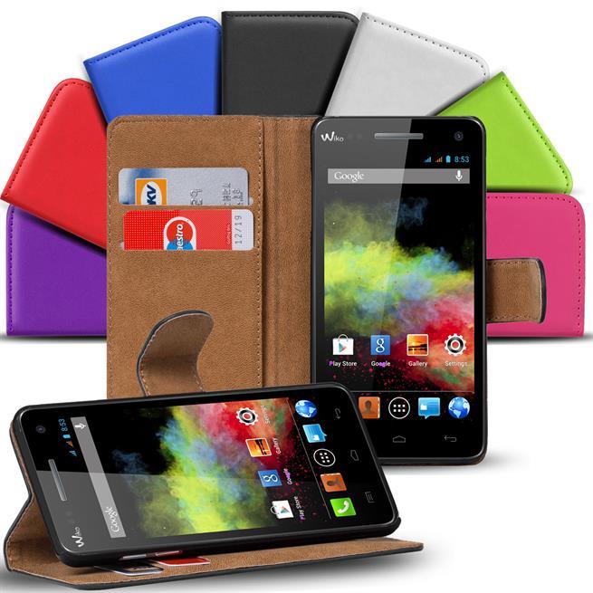 Basic Bookcase Hülle für Wiko Rainbow Up Klapphülle Tasche mit Kartenfächer