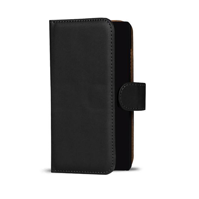 Basic Bookcase Hülle für Wiko Wax 4G Klapphülle Tasche mit Kartenfächer in Schwarz