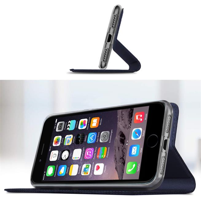 Slim Flip Cover für Apple iPhone 6S 6 Hülle Tasche Magnet in der Klapphülle in Blau