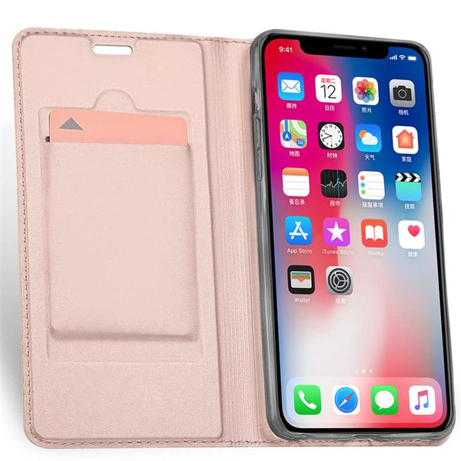 Slim Flip Cover für Apple iPhone X / XS Hülle Tasche Magnet in der Klapphülle in Rosegold