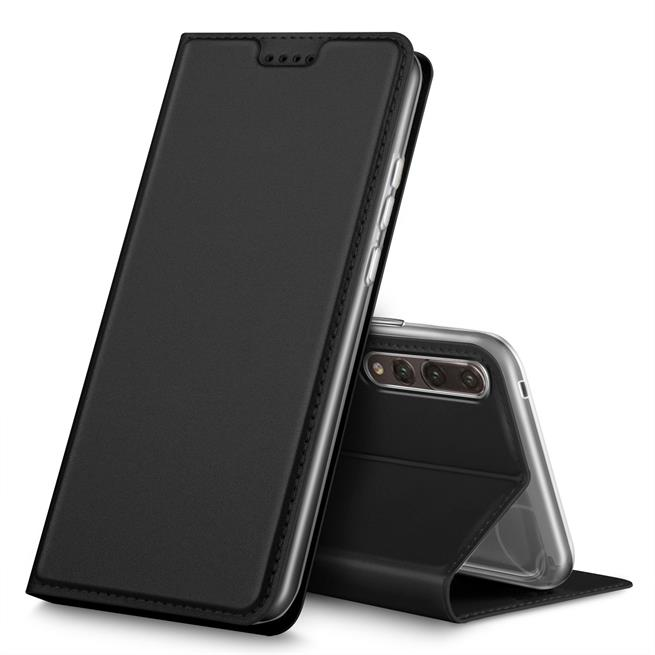Slim Flip Cover für Huawei P20 Pro Hülle Tasche Magnet in der Klapphülle in Schwarz