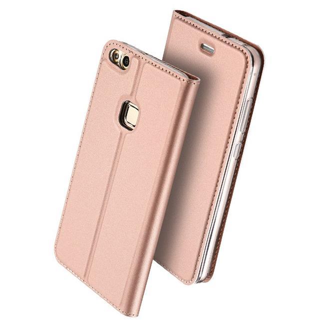Slim Flip Cover für Huawei P9 Lite Hülle Tasche Magnet in der Klapphülle in Rosegold