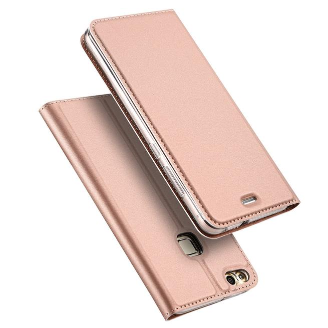 Slim Flip Cover für Huawei P9 Hülle Tasche Magnet in der Klapphülle in Rosegold