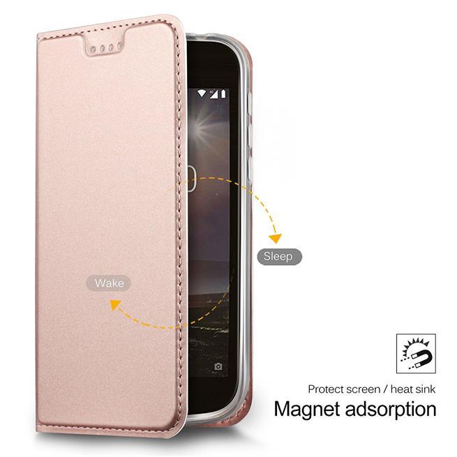 Slim Flip Cover für Nokia 3 Hülle Tasche Magnet in der Klapphülle in Rosegold