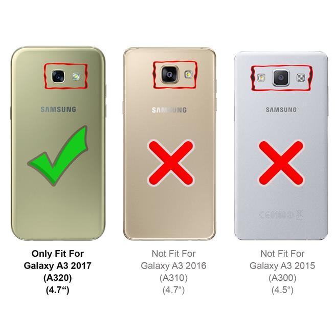 Slim Flip Cover für Samsung Galaxy A3 2017 Hülle Tasche Magnet in der Klapphülle in Schwarz
