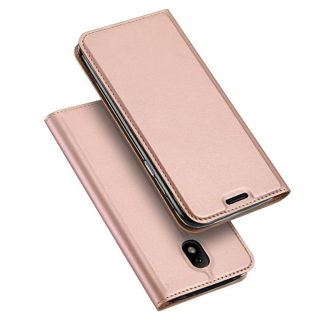 Slim Flip Cover für Samsung Galaxy J5 2017 Hülle Tasche Magnet in der Klapphülle in Rosegold