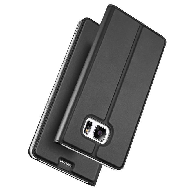 Slim Flip Cover für Samsung Galaxy S7 Hülle Tasche Magnet in der Klapphülle in Schwarz