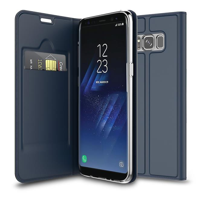 Slim Flip Cover für Samsung Galaxy S8 Plus Hülle Tasche Magnet in der Klapphülle in Blau