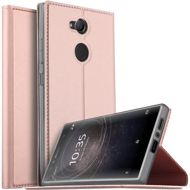 Slim Flip Cover für Sony Xperia L2 Hülle Tasche Magnet in der Klapphülle in Rosegold