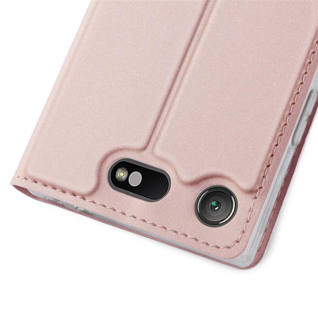 Slim Flip Cover für Sony Xperia XZ1 Compact Hülle Tasche Magnet in der Klapphülle in Rosegold