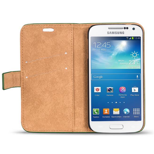 Retro Klapptasche für Samsung Galaxy S4 Mini aufstellbares Book Wallet