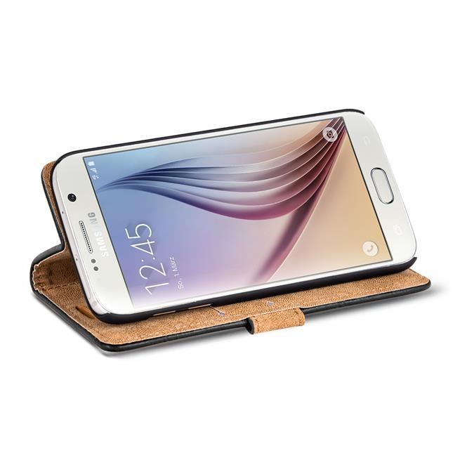 Retro Klapptasche für Samsung Galaxy S6 aufstellbares Book Wallet