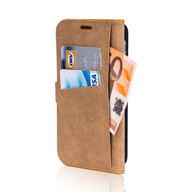 Retro Klapptasche für Samsung Galaxy S9 Book Cover Hülle Tasche mit Kartenfächer in Blau