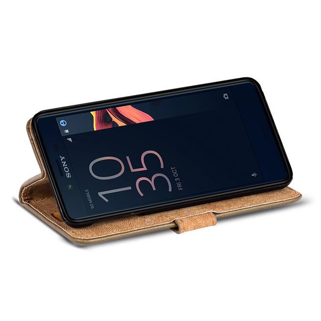 Retro Klapptasche für Sony Xperia XZ1 Schutzhülle mit Kartenfächern