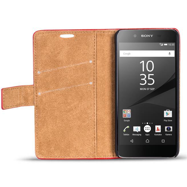 Retro Klapptasche für Sony Xperia Z5 Schutzhülle mit Kartenfächern