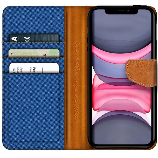 Handy Tasche für Apple iPhone 11 Hülle Wallet Jeans Case Schutzhülle