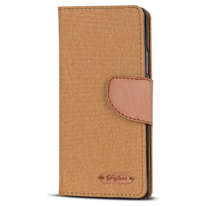 Textil Klapphülle für Huawei P10 - Hülle im Jeans Stoff Design Wallet Tasche in Braun