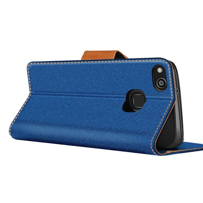 Textil Klapphülle für Huawei P10 Lite - Hülle im Jeans Stoff Design Wallet Tasche in Blau