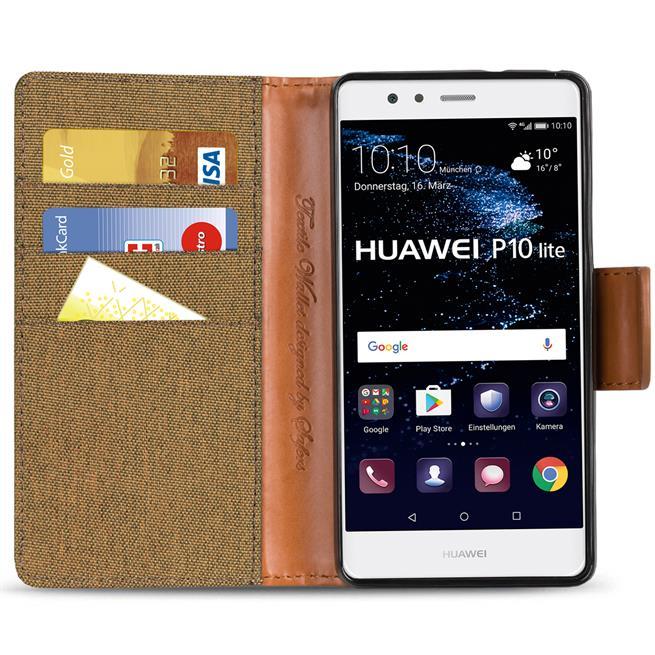 Textil Klapphülle für Huawei P10 Lite - Hülle im Jeans Stoff Design Wallet Tasche in Braun