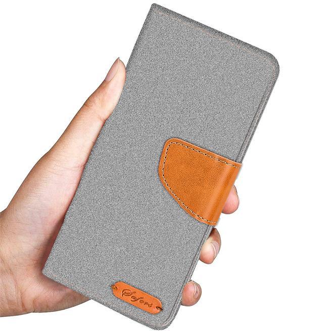 Textil Klapphülle für Huawei P10 Lite - Hülle im Jeans Stoff Design Wallet Tasche in Grau