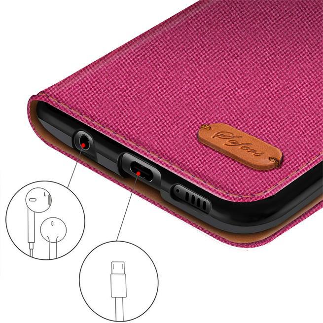 Textil Klapphülle für Huawei P10 Lite - Hülle im Jeans Stoff Design Wallet Tasche in Pink