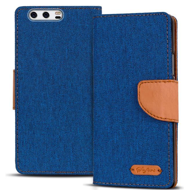 Textil Klapphülle für Huawei P10 Plus - Hülle im Jeans Stoff Design Wallet Tasche in Blau