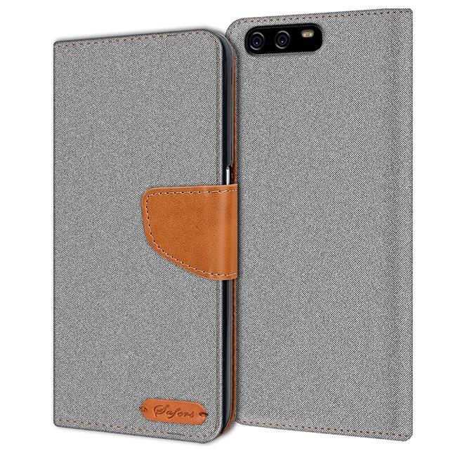 Textil Klapphülle für Huawei P10 Plus - Hülle im Jeans Stoff Design Wallet Tasche in Grau