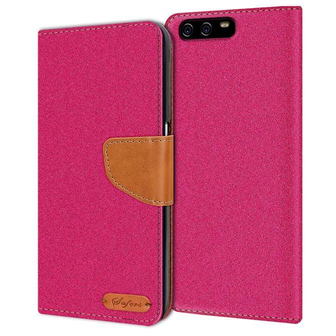 Textil Klapphülle für Huawei P10 Plus - Hülle im Jeans Stoff Design Wallet Tasche in Pink