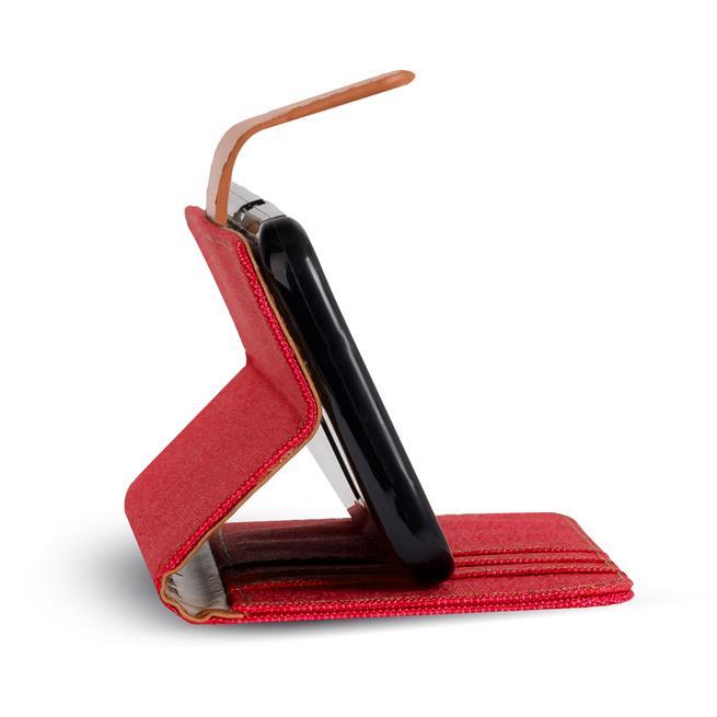 Textil Klapphülle für Huawei P10 Plus - Hülle im Jeans Stoff Design Wallet Tasche in Rot